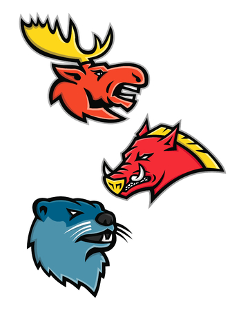 Sports mascot icon illustration set of heads of North American wildlife like the bull moose or elk, razorback, feral pig, wild hog or boar and the river otter or common otter viewed from side on isolated background in retro style.