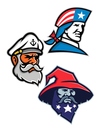 Mascot icon illustration set of heads of an American patriot, minuteman or revolutionary soldier, seadog, sea dog or sea captain and a warlock, wizard, sorcerer or magician viewed from side  on isolated background in retro style.