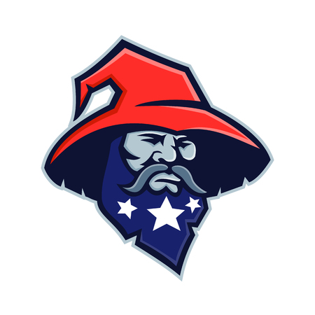 Mascot icon illustration of head of a warlock, wizard, sorcerer or magician with three stars on his beard wearing a pointy or pointed hat viewed from front on isolated background in retro style. Иллюстрация