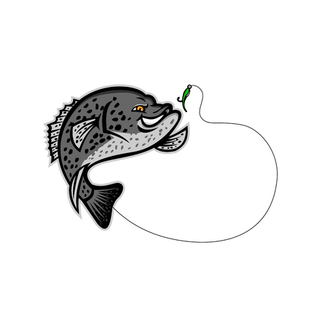 Mascot illustration of a black crappie, strawberry bass, speckled bass, specks, speckled perch, crappie bass or calico bass jumping for a single hook bait or lure isolated background in retro style. Ilustração