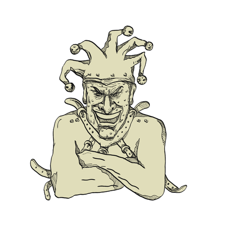 Dessin illustration de style croquis d'un arlequin fou, lunatique ou fou, un joker professionnel, un fou ou un bouffon de cour portant une camisole de force ou une camisole de force tout en riant vu de face sur fond isolé.