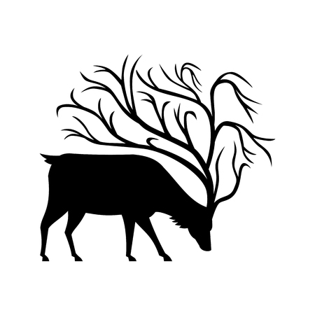 Mascot icon illustration of a black silhouette of a buck, stag or deer with tree-like antlers with branches, grazing viewed from side on isolated background in retro style.