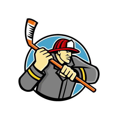 Mascot icon illustration of bust of a fireman or firefighter, a rescuer extensively trained in firefighting, wielding an ice hockey stick viewed from side on isolated background in retro style.