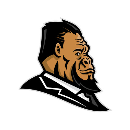Mascot icon illustration of head of a well-groomed gorilla, ape, primate, caveman, Neanderthal or primitive man, wearing business suit and tie viewed from side on isolated background in retro style.