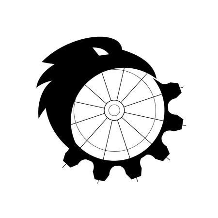 Illustration de style icône rétro d'une silhouette d'un corbeau, d'un corbeau commun ou d'un corbeau du nord, un grand oiseau passereau tout noir, fusionnant ou se transformant en un engrenage mécanique ou un rouage sur fond isolé.