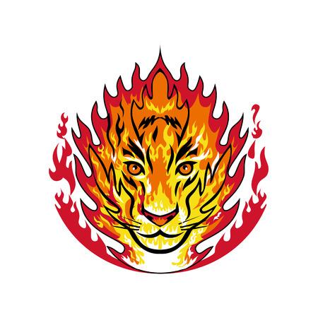 Mascotte icône illustration de la tête enflammée d'un tigre ou gros gros chat en feu à l'intérieur des flammes vues de face sur fond isolé dans un style rétro. Vecteurs
