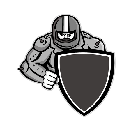 Mascot icon illustration of a biker or bikie wearing a motorcycle helmet and a studded leather jacket holding a shield viewed from front on isolated background in retro style.