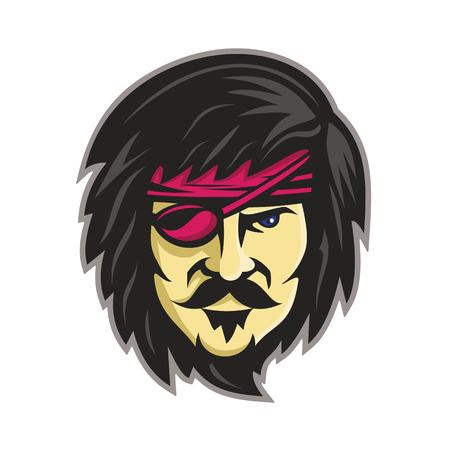 Ilustración del icono de la mascota de la cabeza de un corsario, pirata o corsario con pelo largo, bigote y barba con un parche en el ojo visto de frente sobre fondo aislado en estilo retro.