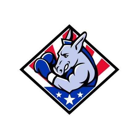 Mascot icon illustration of bust of an American democratic donkey boxing with USA stars and stripes, star spangled banner flag viewed from side set in diamond shape isolated background in retro style. Illustration