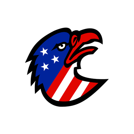 Mascot icon illustration of head of a bald eagle with star spangled banner, stars and stripes American flag inside it viewed from side looking up on isolated background in retro style.
