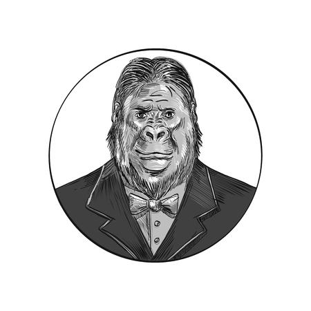 Dessin illustration de style croquis d'un gorille, d'un singe ou d'un primate élégant, hipster et bien soigné portant un smoking ou un costume d'affaires et un nœud papillon vu de l'avant situé à l'intérieur du cercle sur fond isolé