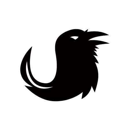 Icon retro style illustration of a silhouette of a crow, common raven, northern raven, or raven with a tail shaped like a quill pen viewed from side on isolated background.