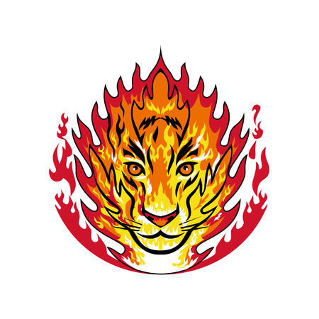 Mascot icon illustration of flaming head of a tiger or big large cat on fire set inside flames viewed from front on isolated background in retro style.