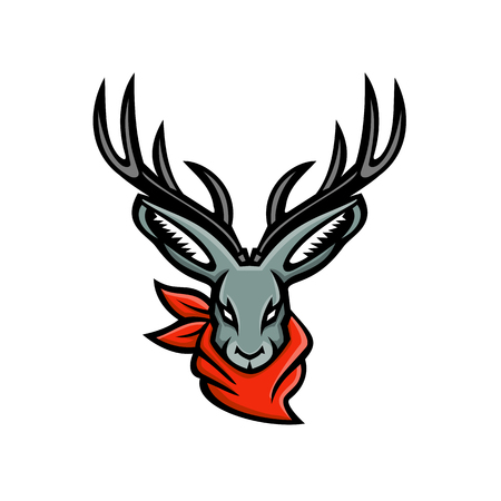 Mascot icon illustration of head of a jackalope, a mythical animal of North American folklore that is a jackrabbit with antelope horns, wearing a bandanna viewed on isolated background in retro style.