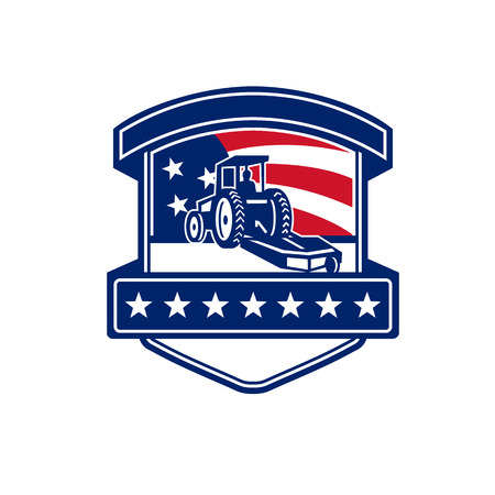 Badge icon retro style illustration for brush hogging service showing a brush or bush hog or rotary mower set inside shield with American stars and stripes USA flag in background.