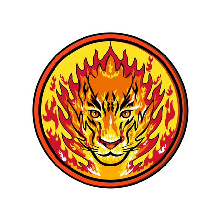 Icon retro style illustration of head of a flaming tiger that is set on fire, flames or fiery viewed from front set inside circle on isolated background.