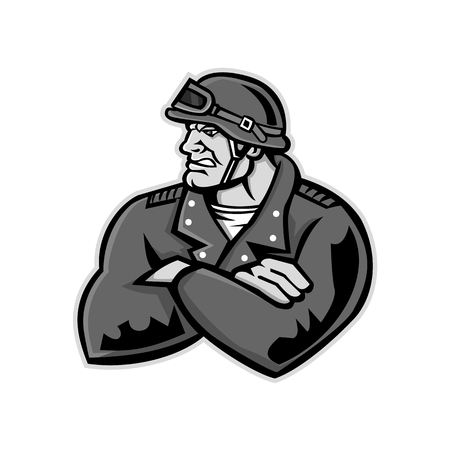 Mascot icon illustration of bust of a male biker or motorcycle club rider wearing a vintage helmet with arms crossed looking to side on isolated background in retro style.