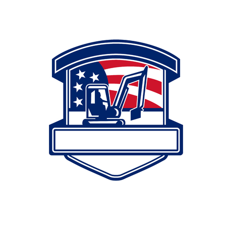 Badge icon retro style illustration for excavation services showing a mechanical digger or excavator set inside shield with American stars and stripes USA flag in background.