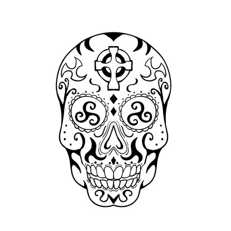 Tattoo style illustration of Mexican skull or calavera, a human skull with decoration, with triskelion or triskele in eye socket and Celtic cross on forehead viewed from front done in black and white. Illustration