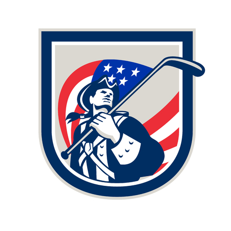 Illustration of an American Patriot holding a USA stars and stripes flag on ice hockey stick looking up set inside crest shield on isolated white background. Illustration