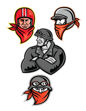 Mascot icon illustration set of heads of a male biker or motorcycle club rider, outlaw or bandit wearing a vintage helmet and bandanna or scarf viewed from  on isolated background in retro style.  イラスト・ベクター素材