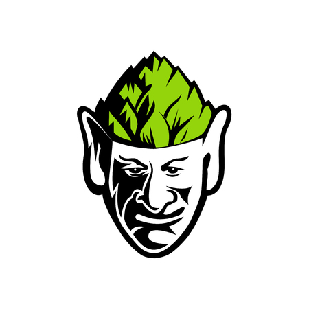 Mascot icon illustration of head of an elf, human-shaped supernatural being, wearing a hops hat viewed from front on isolated background in retro style.