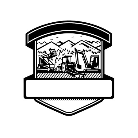Badge icon retro style illustration of heavy equipment used in tree mulching, bush hogging and excavation services with mountains set inside shield on isolated background done in black and white. Vectores