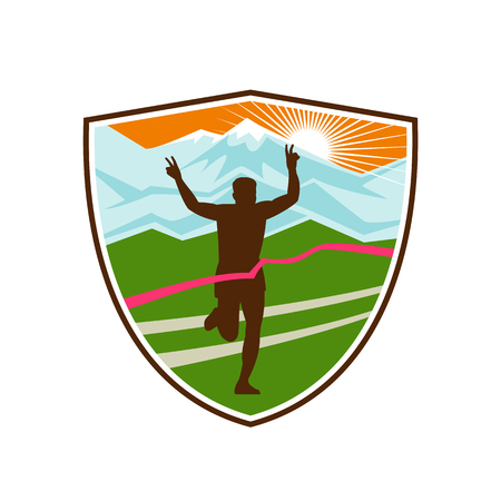 Retro style illustration of a silhouette of victorious marathon runner flashing victory hand sign with snow capped mountains and sunburst and finish line ribbon tape in shield or crest shape.