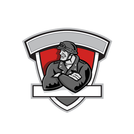Mascot icon illustration of bust of an angry motorcycle gang biker wearing vintage helmet with arms crossed set inside shield crest isolated background in retro style.