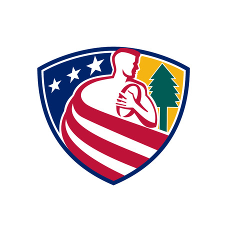 Mascot icon illustration of an American rugby union player with ball and pine tree draped in USA stars and stripes star spangled banner flag set inside shield or crest done in retro style. Illustration