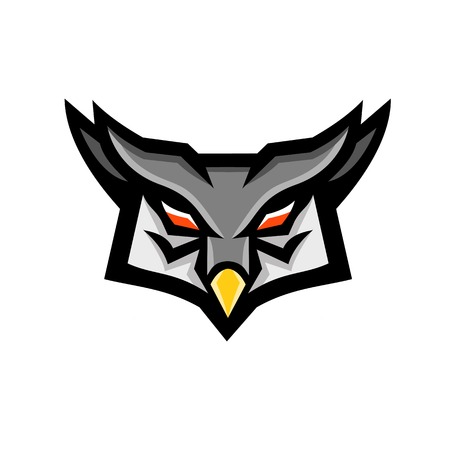 Mascot icon illustration of a head of an angry or aggressive great horned owl viewed from front on isolated background in retro style.