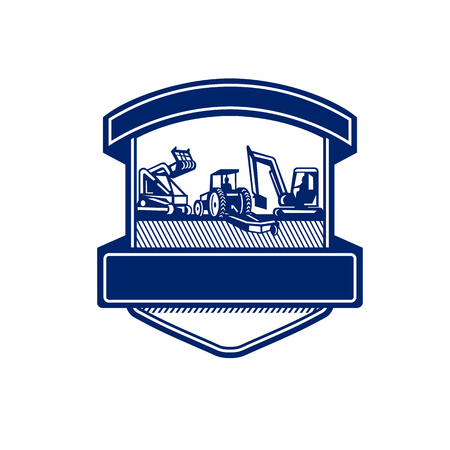 Badge icon retro style illustration of heavy equipment used in tree mulching, bush hogging and excavation services set inside shield on isolated background done in blue and white. Illustration