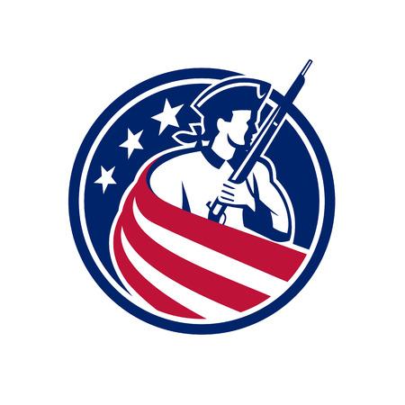 Icona della mascotte illustrazione di un patriota americano, minuteman, soldato rivoluzionario con fucile a moschetto drappeggiato negli Stati Uniti a stelle e strisce bandiera stendardo stellato impostato all'interno del cerchio fatto in stile retrò. Vettoriali