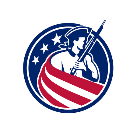 Mascot icon illustration of an American patriot, minuteman, revolutionary soldier with musket rifle draped in USA stars and stripes star spangled banner flag set inside circle done in retro style.