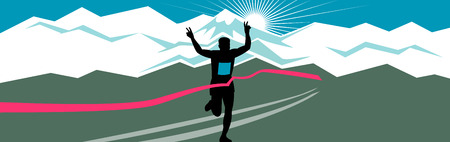 Retro style illustration of a silhouette of marathon runner flashing victory hand sign with snow capped mountains and sunburst and finish line ribbon tape in extra wide horizontal format. Illustration