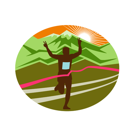 Retro style illustration of a silhouette of marathon finisher runner flashing victory hand sign with snow capped mountains and sunburst and finish line ribbon tape set inside oval shape