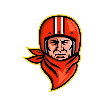Ilustración del icono de la mascota de la cabeza de un ciclista masculino o ciclista del club de motocicletas con un casco vintage y un pañuelo o bufanda visto desde el frente sobre fondo aislado en estilo retro. Ilustración de vector