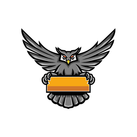 Mascot icon illustration of a great horned owl with wings spread holding up a banner sign viewed from front on isolated background in retro style.
