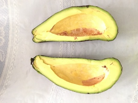 Photo of a sliced green-fruited Philippine avocado that is grown in Central Visayas, Philippines.