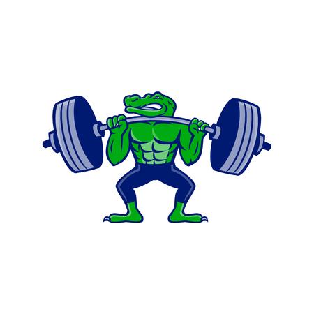 Ilustración del icono de la mascota de un caimán, caimán, cocodrilo o cocodrilo levantando un entrenamiento con pesas con barra pesada o levantamiento de pesas visto desde el frente sobre fondo aislado en estilo retro.