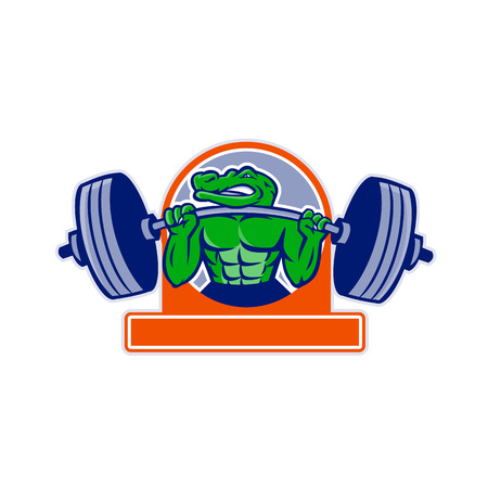Mascot icon illustration of an alligator, gator, crocodile or croc lifting a heavy barbell weight training or weightlifting viewed from front set inside circle on isolated background in retro style.