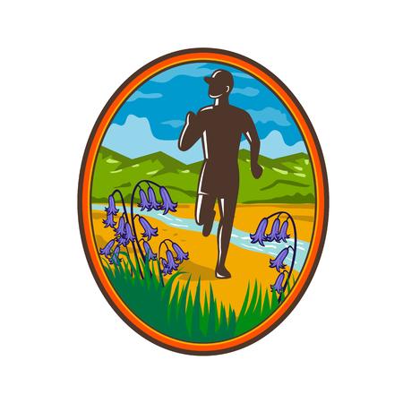 Illustration de style rétro d'un coureur de marathon de pays en cours d'exécution avec jacinthes communes au premier plan et ruisseau de la rivière et colline verte en arrière-plan situé à l'intérieur de l'ovale.