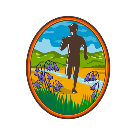 Retro style illustration of a country marathon runner running with common bluebells in foreground and river stream and green hill in background set inside oval. Illustration