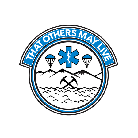 Badge icon illustration fro sea, air and land rescue showing a parachute, paramedic symbol, crossed mountain ice axes set inside circle on isolated background with words That Others May Live.