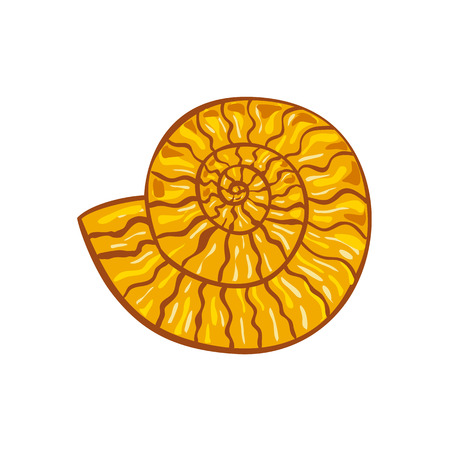 Retro style illustration of an ammonite or ammonoid, an extinct group of marine mollusc animals in the subclass Ammonoidea of the class Cephalopoda on isolated background.