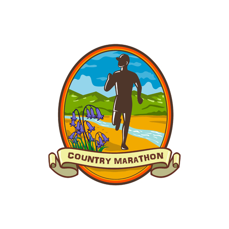 Retro style illustration of a country marathon runner running with common bluebells in foreground and river stream and green hill in background set inside oval with banner text Country Marathon.