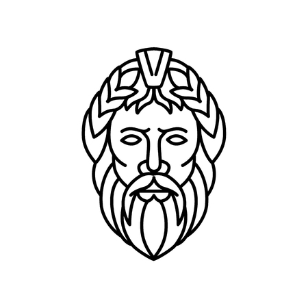 Mono Line Illustration Of Zeus The Sky And Thunder God In Ancient