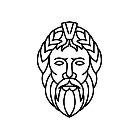 Monolijnillustratie van Zeus, de hemel- en dondergod in de oude Griekse religie, die regeert als koning van de goden van de berg Olympus, zijn Romeinse equivalent is Jupiter, van voren gezien in monoline-stijl.