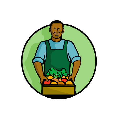 Mascot illustration of a black African American green grocer or greengrocer holding fruit and vegetable produce set in circle on isolated white background done in retro style.