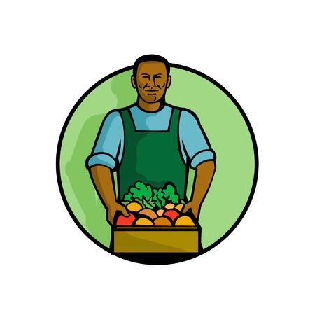Maskotka ilustracja czarnego afroamerykańskiego zielonego sklepu spożywczego lub warzywniaka trzymającego produkty owocowo-warzywne ustawione w kręgu na pojedyncze białym tle wykonanej w stylu retro. Ilustracje wektorowe